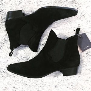 NWT ZARA black suede leather slip on ankle boots
